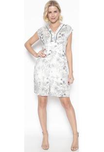 Vestido Folhagens Com Nervuras- Off White & Cinza- Vvip Reserva