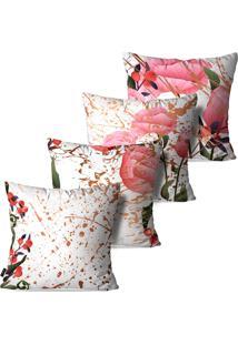 Kit Com 4 Capas Para Almofadas Pump Up Decorativas Flores Estilo Arte Abstrata 45X45Cm