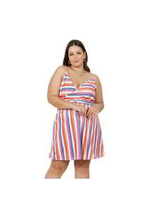 Vestido Marguerite Alças Transpassado Plus Size Listrado Multicolorido
