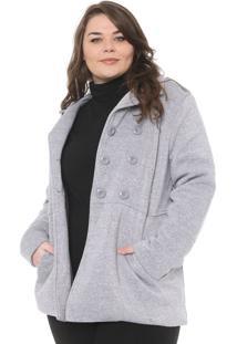 Casaco Secret Glam Plus Size Botões Cinza - Kanui