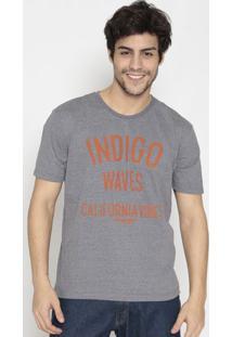 "Camiseta Em Mescla ""Indigo Waves""- Cinza & Laranjawrangler"