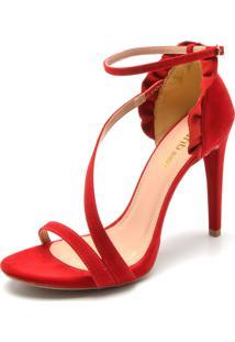 Sandália Dafiti Shoes Babados Vermelha