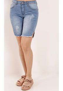 Bermuda Jeans Destroyed Feminina Azul