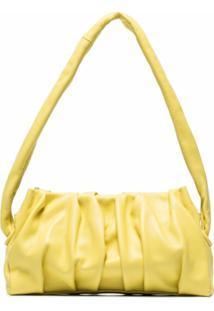Elleme Bolsa Tiracolo Drapeada De Couro - Amarelo