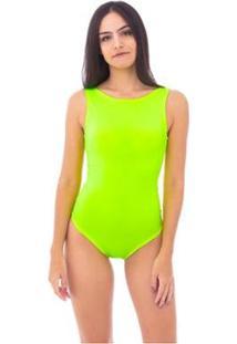 Body Moda Vicio Regata Com Decote Costas - Feminino-Amarelo