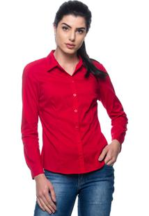 Camisa Intens Manga Longa Tricoline Vermelho