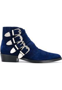 Toga Virilis Ankle Boot Com Fivela De Camurça - Azul