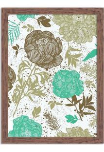 Quadro Decorativo Floral Verde Mesclado Madeira - Grande