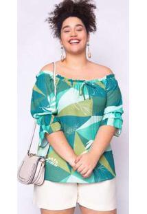 Blusa Almaria Plus Size Lasala Estampada Verde