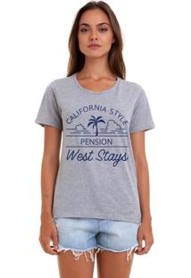 Camiseta Basica Joss West Stays Cinza Mescla - Kanui