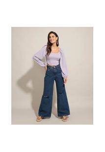 Calça Wide Pantalona Jeans Com Rasgos Cintura Super Alta