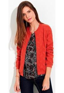 Jaqueta Em Algodão Com Textura Relevo Feminina - Feminino-Vermelho