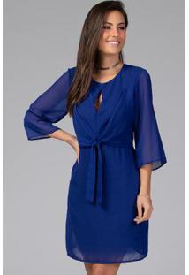 Vestido Com Decote Gota E Amarração Azul