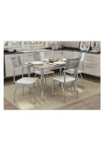 Conjunto Mesa Elba Com 4 Cadeiras Munique Branco E Cromado Kappesberg Crome