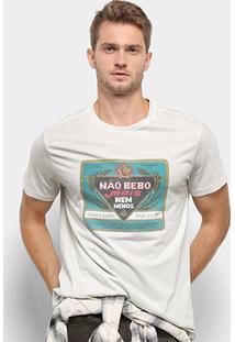 Camiseta Reserva Estampada Não Bebo Mais Masculina - Masculino-Off White