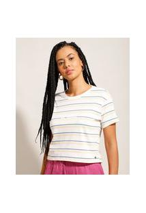 "Camiseta Cropped Listrada Be Good"" Manga Curta Decote Redondo Multicor"""