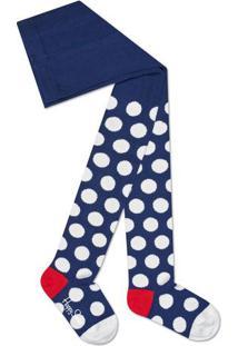 Meia Calça Poá- Azul Marinho & Brancahappy Socks