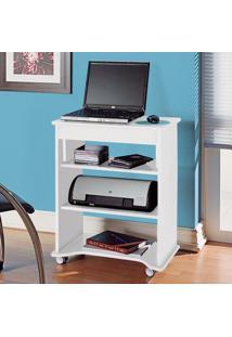 Escrivaninha Para Computador Móvel Com Prateleiras Artely Branco