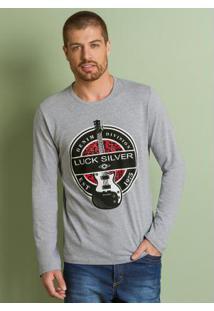 Camiseta Mescla Com Estampa Guitarra