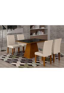 Conjunto De Mesa De Jantar Luna Com 4 Cadeiras Ane Ii Veludo Imbuia, Preto E Creme