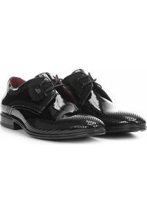 Sapato Social Couro Jorge Bischoff Verniz Masculino - Masculino-Preto