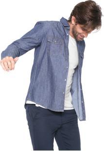 Camisa Jeans Malwee Reta Bolsos Azul-Marinho