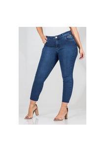 Calça Jeans Feminina Cropped Skinny Cós Médio Barra Cortada