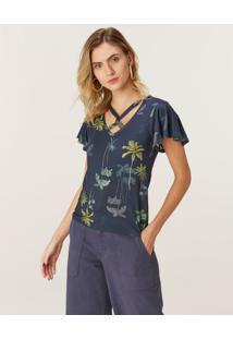 Blusa Decote Trançado Viscose Stretch Malwee Azul Marinho - P