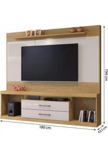 Estante Home Theater Para Tv Até 65 Polegadas Montenegro Plus Mavaular Damasco/Off White