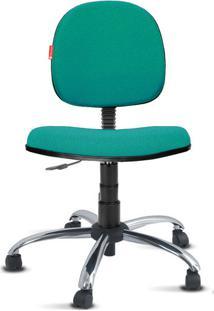 Cadeira Executiva Giratória Cromada Crepe Verde Água