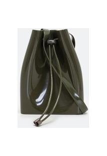 Bolsa Modelo Bucket Com Enforcador | Satinato | Verde | U