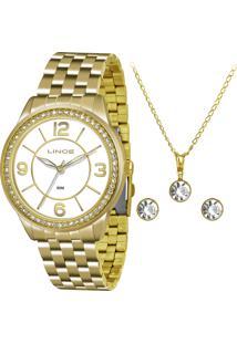 Kit De Relógio Analógico Lince Feminino + Brinco + Colar - Lrg4340L Kt04B2Kx Dourado - Único