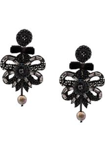 Ranjana Khan Embellished Drop Earrings - Preto