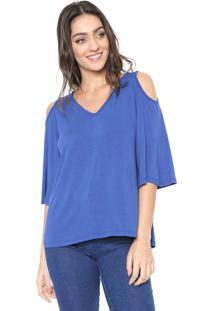 Blusa Mercatto Off Shoulders Azul