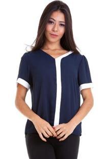 Blusa Chiffon Bicolor Manga Curta - Feminino-Azul