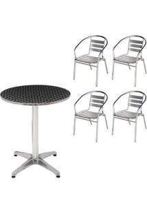 Mesa Mor Redonda Em Alumínio Com 60 Cm Diâmetro + 4 Cadeiras - Unissex