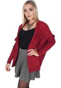 Cardigan Damer Com Furos Bordô