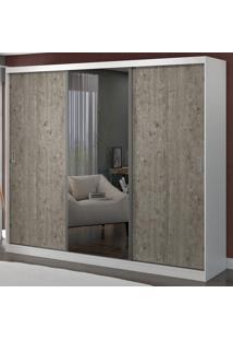 Guarda-Roupa Casal 3 Portas Com 1 Espelho 100% Mdf 1902E1 Branco/Demolição - Foscarini