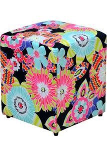 Puff Decorativo Lymdecor Quadrado Floral Preto