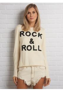 Blusa John John Rock E Roll Tricot Off White Feminina (Preto, P)