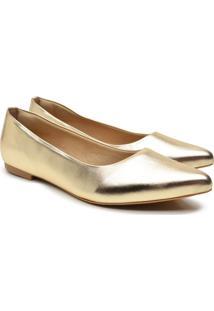 Sapatilha Feminina Metalizada Bico Fino Lisa Conforto Macia Dourado 34 Dourado - Dourado - Feminino - Sintã©Tico - Dafiti