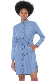 f1ba23f53 R$ 459,00. Dafiti Vestido Azul Maria Filó Algodão Viscose Jeans Gola Alta  Chemise Ombro Curto Manga Longa Amarração