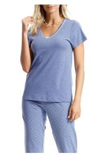 Pijama Capri Manga Curta Poá Paulienne (C.103.61.P) 100% Algodão