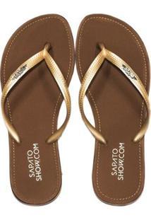 Chinelo Broche Metálico Sapato Show - Feminino-Dourado