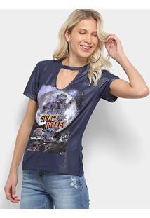 Camiseta Choker Coca-Cola Space Rollex Feminina - Feminino-Azul
