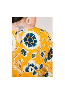 Macaquinho Almaria Plus Size Minha Linda Estampado Amarelo