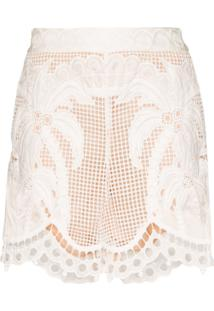 Zimmermann Shorts Com Renda Floral - Branco