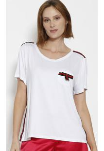 Camiseta Com Bolso & Laço- Branca & Vermelha- Dress Ênfase