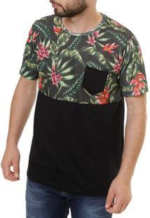 Camiseta Manga Curta Masculina No Stress Preto/Verde