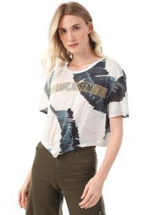 Camiseta Cropped Lança Perfume Folhagem Aplicações Branca/Verde